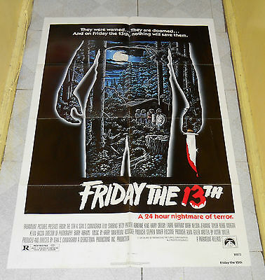 original FRIDAY THE 13TH (damaged) one-sheet poster Kevin Bacon