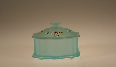 Vintage New Martinsville Glass Deco Blue Frosted Powder Jar Hand Painted c.1935