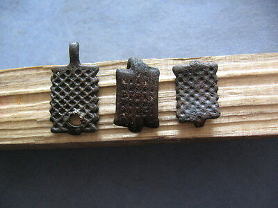"3 ""honeycomb"" Ancient Celtic ""german Tribes"" Bronze Decorations 600-400 B.c."