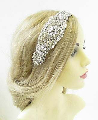 Ivory Silver Diamante Bridal Headband Headpiece Vintage Beaded White Deco 1007