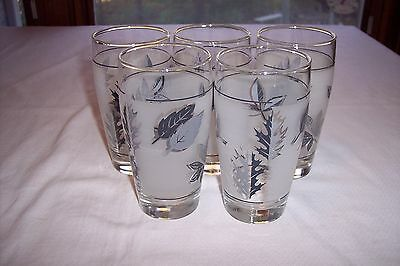 Lot of 5 Libbey-Rock Sharpe Silver Leaf 12 Ounce Frosted Tumblers