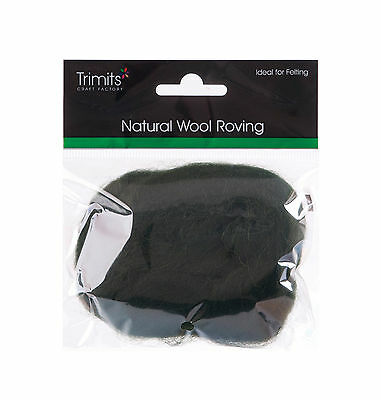 TRIMITS Natural 100% Wool Roving For Needle Felting 10g - DARK GREEN