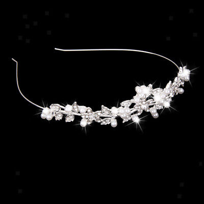 Wedding Prom Bridal hair Band Crystal Rhinestone Pearl Crown Headband Tiara