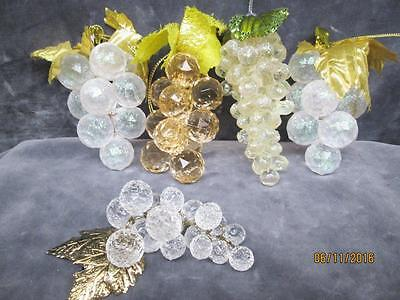 5 Christmas Clusters Of Frosted Grape Bunch Ornaments