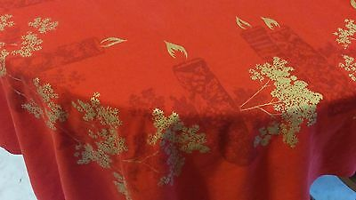 Vintage California Hand Prints Tablecloth Chritmas Holiday Candles Large