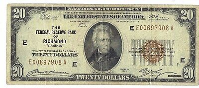 1929 $20 Bill - National Currency - Federal Reserve Bank - Richmond, Virginia