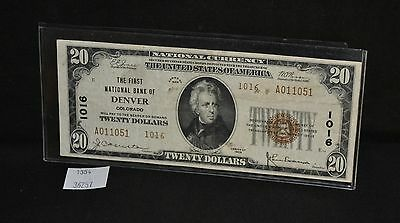 West Point Coins ~ National Currency 1929 Denver, CO Series II $20 Note #1016