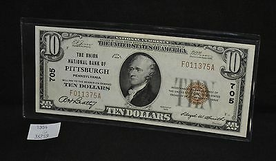 West Point Coins ~ National Currency 1929 Union Bank Pittsburgh PA $10 Note #705