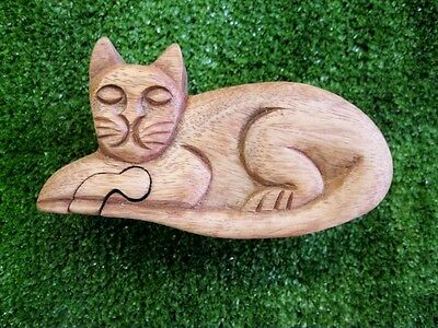 Wooden Puzzle Trinket Box Cat Wood Carved Bali Indonesia Hidden Secret Compartme