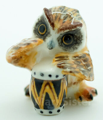 Figurine Animal Ceramic Statue Owl Bird Playing Drum - FG015-3