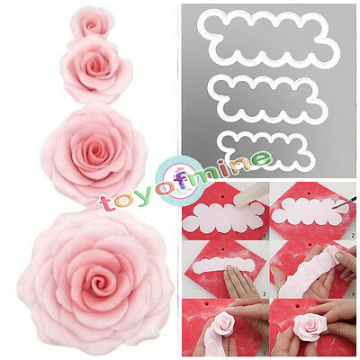 New3 Size 3D Rose Flower Fondant Cake Mold Chocolate Mould Decor Tool