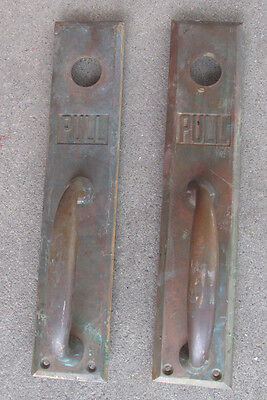 (2) Antique Vintage BRASS Handle Door PULL Restuarant Business Decor Industrial
