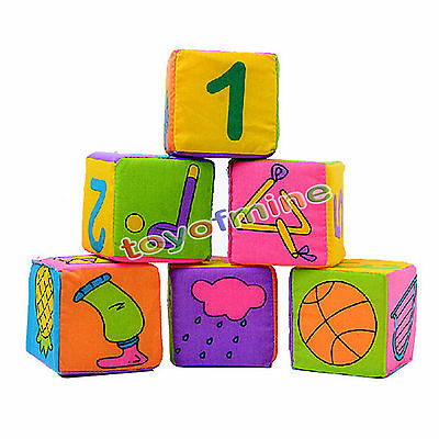 6pcs Infant Baby Cloth Rattle Building Educational Toys Soft Blocks Cube new