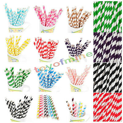 Drinking Straws 25/50/100pcs Biodegradable Birthday Party Wedding Paper Striped