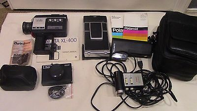 Lot of 3 Vintage Cameras Minolta Windsor Polaroid + Extras Manuals Cases Lots