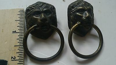 Vintage Antique Brass Metal Lions Head Door knocker drawer pulls handle set of 2