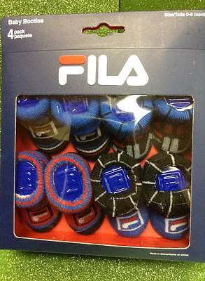 Fila Baby Booties/Socks Crib Shoes Pack of 4 0-6 Months