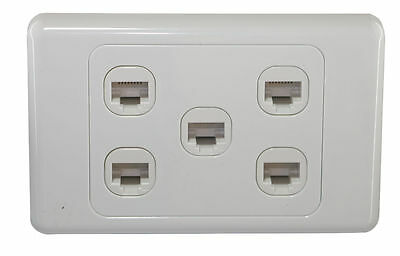5 Gang Wall Plate Wallplate Clipsal Style 1 RJ45 Cat 6 Data Network LAN Jack