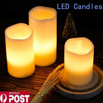 New 3X LED Candles Battery Operated Flickering Pillar Flameless Unscented