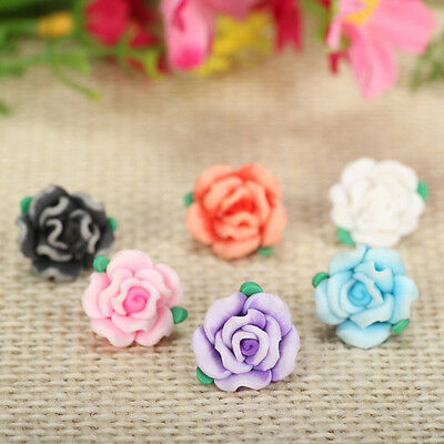 Wholesale!50/100pcs Mixed Polymer Fimo Clay Rose Flower Spacer Loose Beads13*8mm