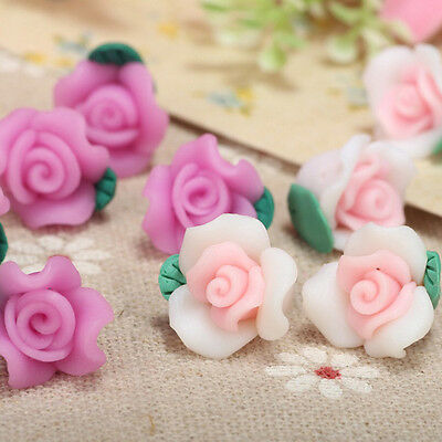 Handmade! 50/100pcs Mixed Polymer Fimo Clay Flower Rose Spacer Loose Beads 13mm