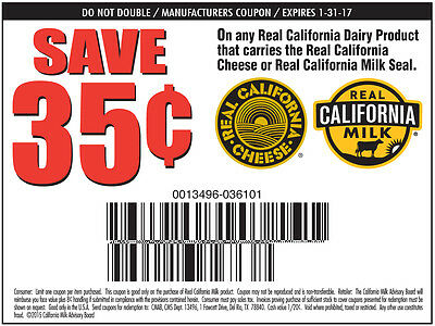 20 coupons: Save $.35 on any 1 Gallon of Real California Milk Exp. 1/31/17