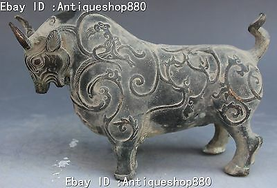 """7"""" Old Chinese Bronze Fengshui Zodiac Year Strong Bull Oxen Cattle Animal Statue"""