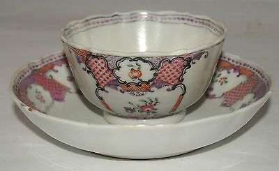 Antique Lowestoft Porcelain Cup And Saucer Chinese Export Porcelain Rose