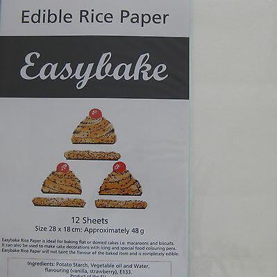 Easybake Edible Printable Rice Wafer Paper Packet 12 Sheets White