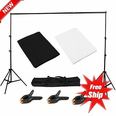 Light Studio Photo Studio Black White Background Backdrop Screen Stand Kit HC