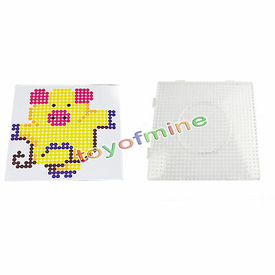 Large Square Clear Perler Fuse Beads Pegboard Children's Funny DIY Kit