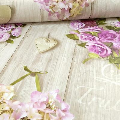 Grandeco Ideco Vintage Hearts Wood Beam Rose Floral Motif Wallpaper Lilac