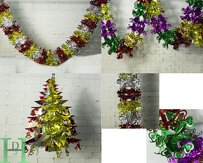 4 x Christmas Ceiling Decoration Foil Hanging Garland Trees Xmas Party Ornament
