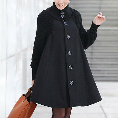 New Winter Maternity Coat Pure Color Loose Woman Outerwear Knitted Sleeves Cloak