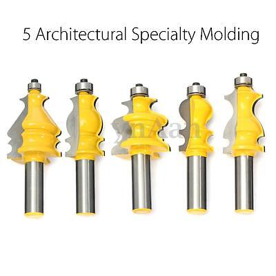 """5pcs 1/2"""" Shank Architectural Molding Router Bit Set Woodworking Cutter Tool Kit"""