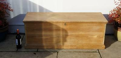 Large, wide mid Victorian pine blanket box, chest, 3 sided detail, re-furbished