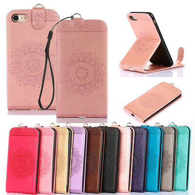 Luxury Slim Vertical Flip PU Leather Pattern Case Cover For iPhone 7 8 Plus 6s X