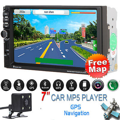 "GPS Navigation 7"" 2 DIN Car MP5 Player Radio Stereo MP3 Bluetooth FM+Camera+Map"
