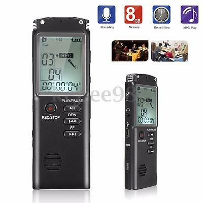 8GB Rechargeable USB LCD Digital SPY Audio Voice Recorder Dictaphone MP3 Player