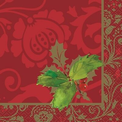 Christmas Holly Beverage Napkins 16PK Party Supplies Decoration Christmas