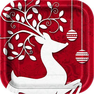 Frosted Holiday 17CM Plates 10PK Party Supplies Decoration Xmas Christmas Paper