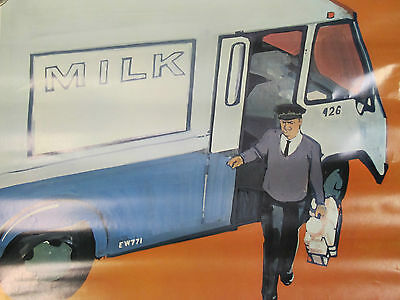 """Original 1968 National DAIRY Council Poster """"Delivering Milk to the Home"""""""