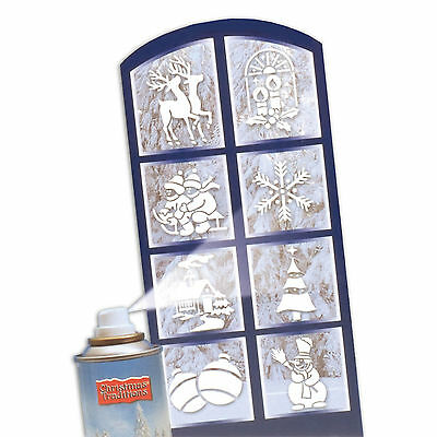 8 Assorted Christmas Party Snow Spray Festive Window Stencils Decorations