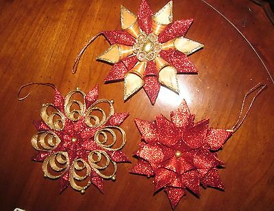 Shaved Curled Wood Christmas Ornaments Glitter Red and Gold