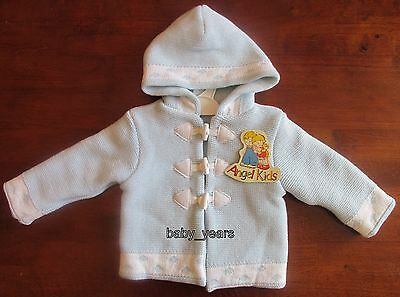 Baby Boys Hooded Cardigan Blue Knitted  Duffle Jacket Coat 0-3 3-6 6-9 Months