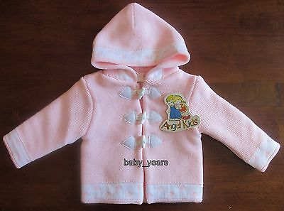 Baby Girls Hooded Cardigan Pink Knitted Duffle Jacket Coat 0-3 3-6 6-9 Months