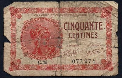 1920 France - Chambre De Commerce, Paris 50 Centimes Banknote * 077,974 *