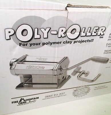 POLY ROLLER Polymer Clay Roller Crafts Press W/ Handle & Table Clamp, NIB