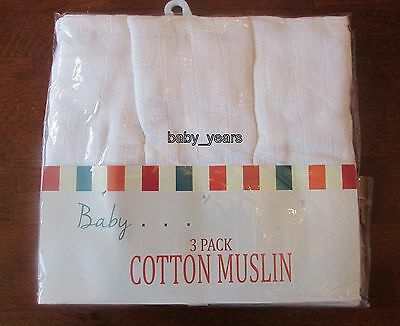 Pack 3 Baby Muslin Squares White 100% Cotton Soft Reusable Cloths Bibs Wipes