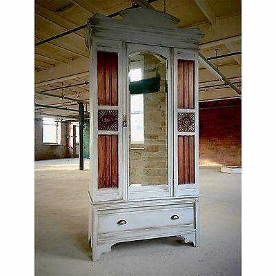 Industrial Design Solid Satinwood Edwardian Armoire With Large Drawer